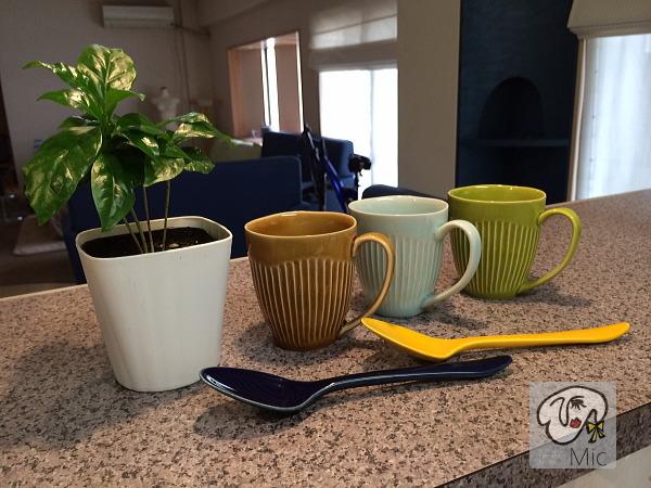 2014年有田焼陶器市で購入したマグカップと陶器のスプーン
